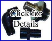 "Bulkhead Blind Tank Fitting  1/2"" NPT with 1/2"" Barb"